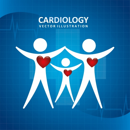 cardiology design over blue background Vector