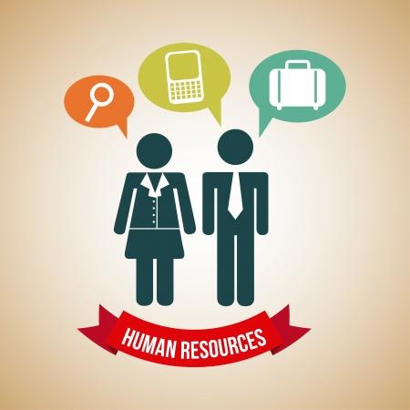 human resources over beige background  Vector