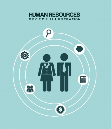 human resources over blue background