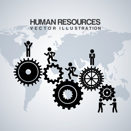 team worker: human resources over gray background
