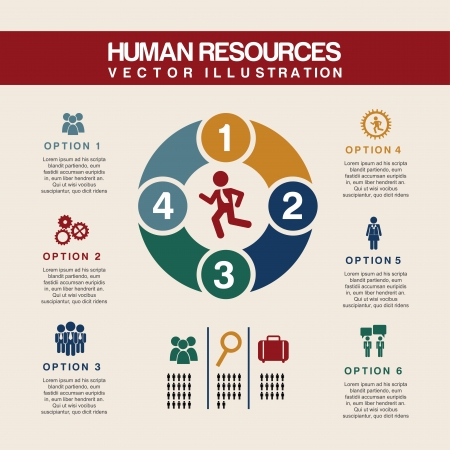 human resources over pink background  Vector