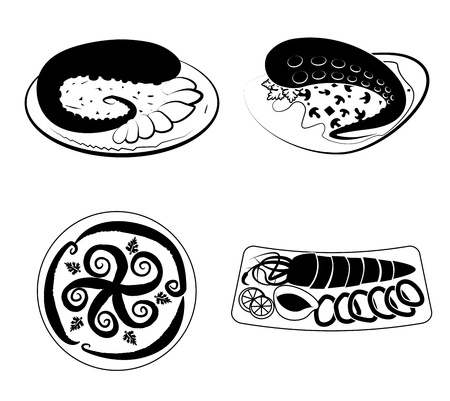 sea food: sea food over white background