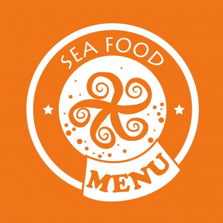 sea food design over orange background  Vector