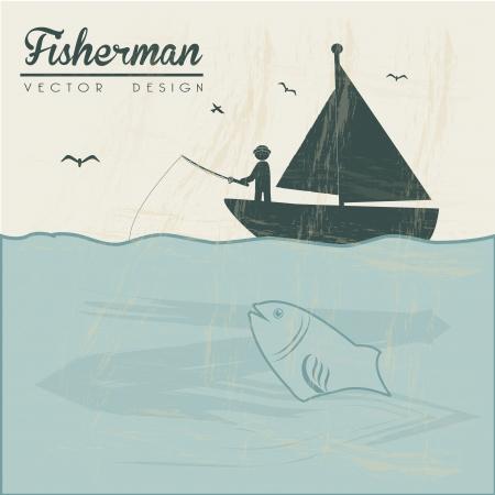 fisher man: fisherman  design over landscape background