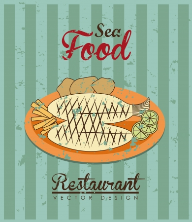 sea food: sea food design over lineal background