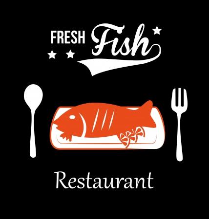 sea food: sea food design over black background