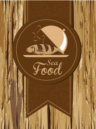 sea food: sea food design over wooden background