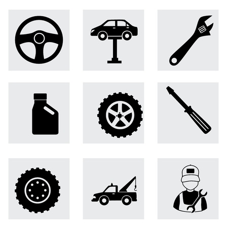 machine shop icons over white background