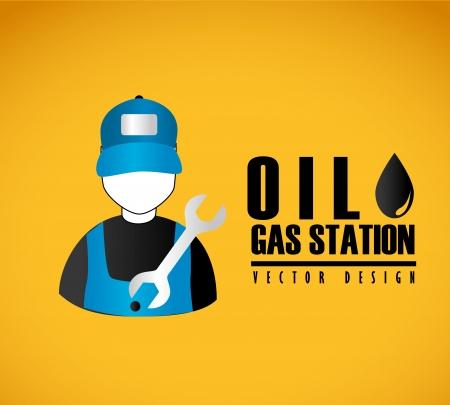 oil gas station  over orange background Vector