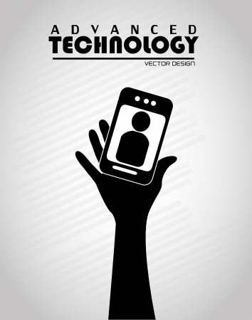 advanced technology: advanced technology over gray  background  Illustration