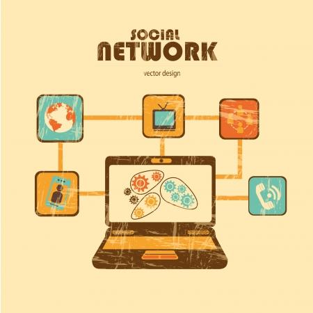social network over cream  background  Illustration