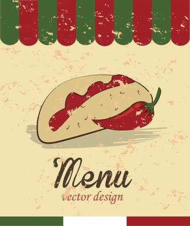 taco: menu design label over cream background