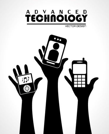 advanced technology over gray  background Vector