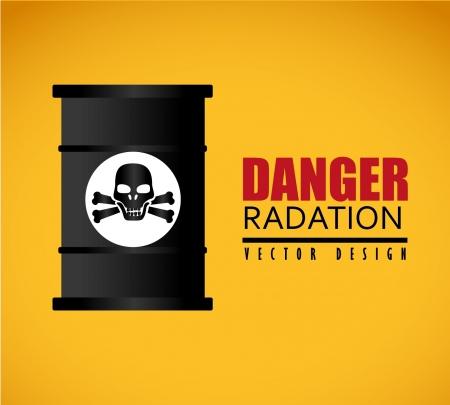 danger of radiation: danger radiation over orange background  Illustration