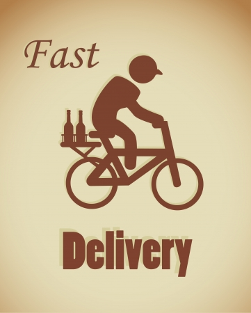 fast delivery label over bronze background  Vector