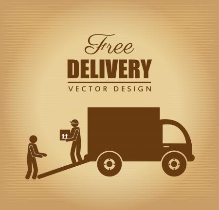 free delivery label over vintage background Vector