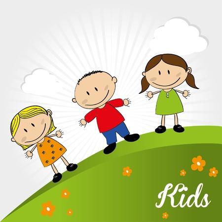 kids design over landscape background illustration  Ilustração