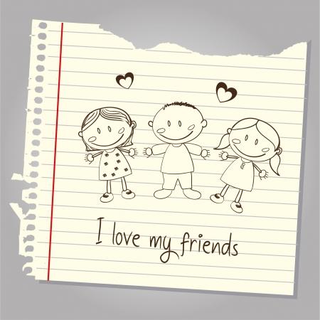 i love my friends over leaf notebook background illustration