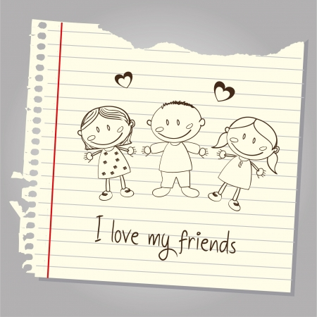 genders: i love my friends over leaf notebook background illustration
