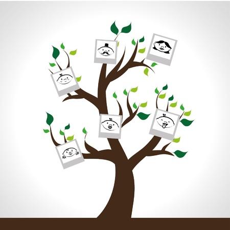 Conception de l'arbre généalogique sur fond gris illustration Banque d'images - 21679278