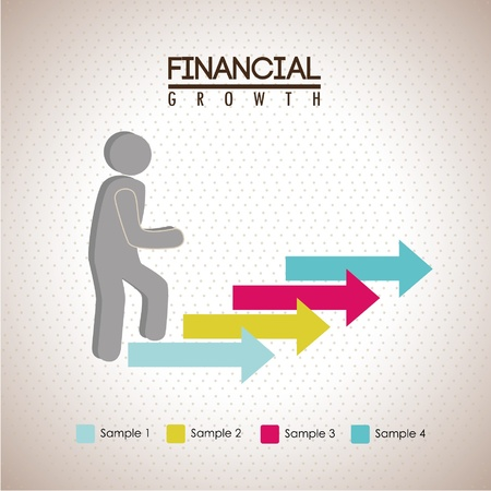 financial growth over dotted background illustration