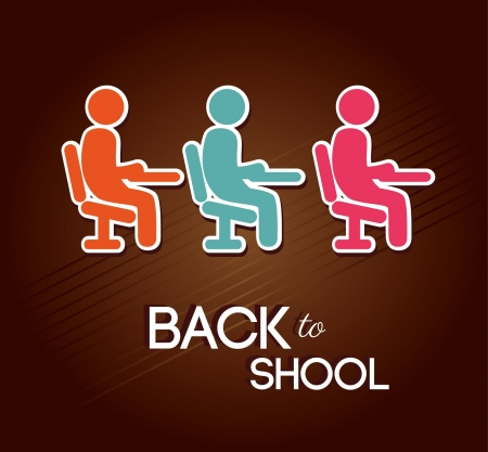 back to school over brown background  Vector