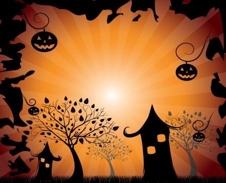 houses: halloween design over orange background vector illustration
