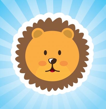 leon caricatura: leon dise�o sobre fondo azul, ilustraci�n vectorial Vectores