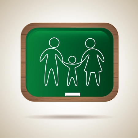 family design over greenboard  background vector illustration  Vector