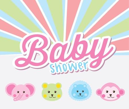 leon de dibujos animados: diseño de la ducha del bebé sobre fondo Rainbown ilustración vectorial