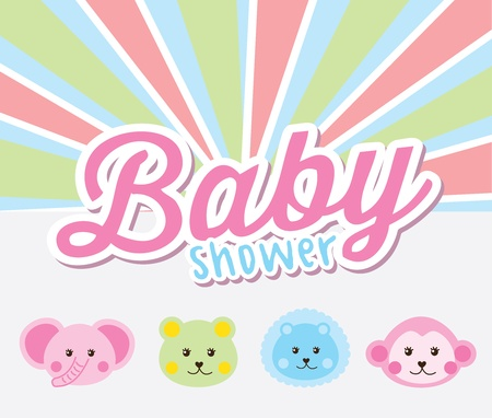 leon caricatura: dise�o de la ducha del beb� sobre fondo Rainbown ilustraci�n vectorial