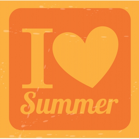 i love summer over orange background  vector illustration Stock Vector - 21875380