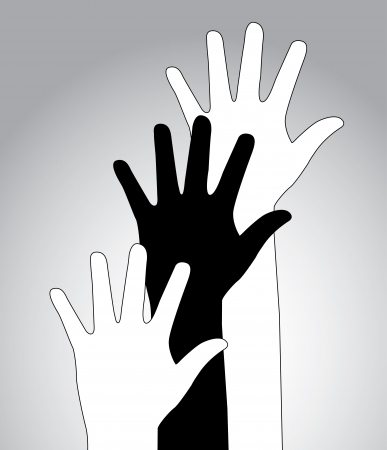 hands up over gray background vector illustration  Vector
