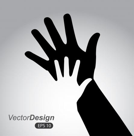 child safety: hands design over gray background vector illustration