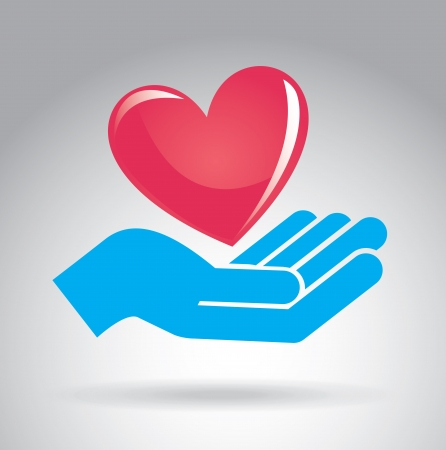 hand red: hands  love design over gray background vector illustration