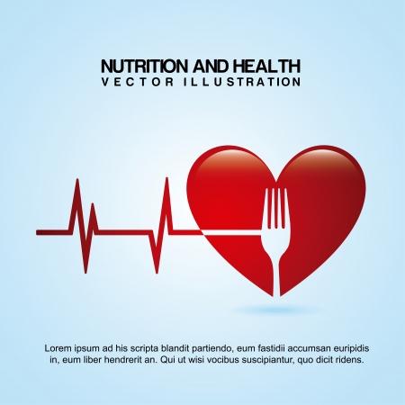cardioid: dise�o de la nutrici�n sobre fondo azul ilustraci�n vectorial