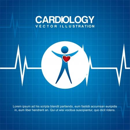 cardioid: dise�o cardiolog�a sobre fondo azul ilustraci�n vectorial Vectores