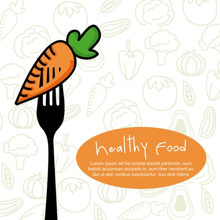 healthy food design over vegetables background vector illustration  Ilustração