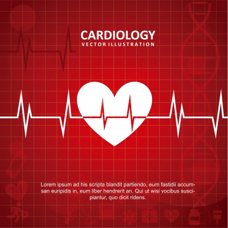 cardioid: dise�o cardiolog�a sobre fondo rojo ilustraci�n vectorial