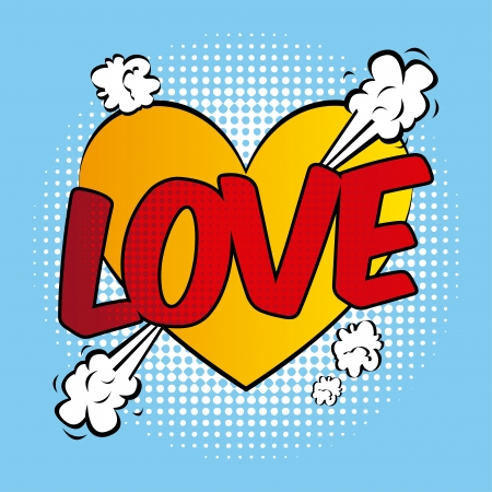 disegno d'amore su sfondo blu, illustrazione vettoriale Vettoriali