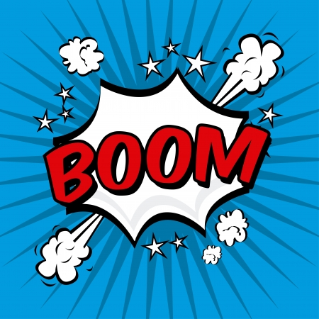 boom comics icon over blue background vector illustration   Vector