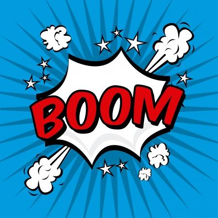 boom comics icon over blue background vector illustration