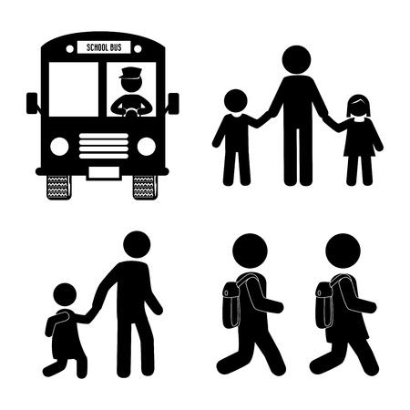 successful student: icone di scuola su sfondo bianco, illustrazione vettoriale