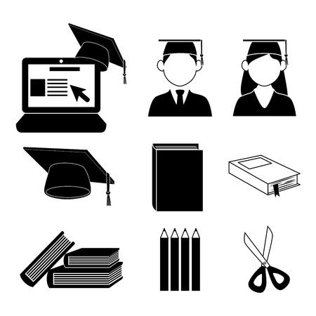 graduation cartoon: graduate icons over white background vector illustration