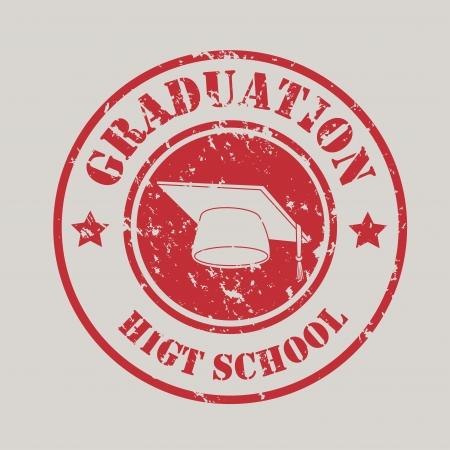 graduation seal over gray background vector illustration  Vector