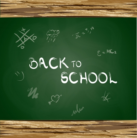 back to school over green board background vector illustration Vector