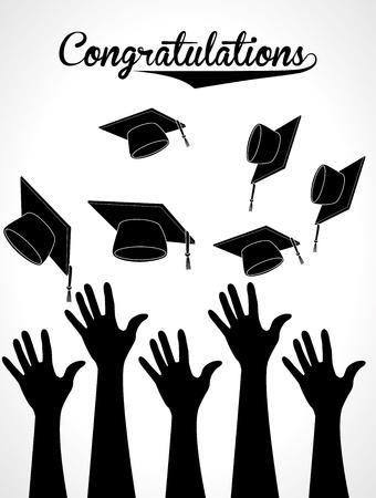 graduation party: graduation label over white background vector illustration