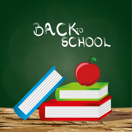back to school over greenboard background vector illustration  Vector