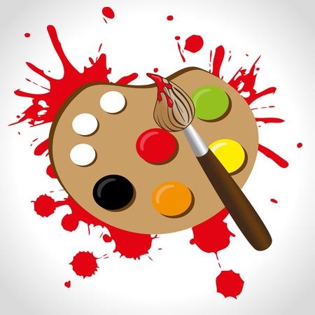 paint palette over brown background vector illustration  Vector