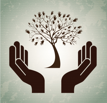 hands tree over vintage background vector illustration illustration